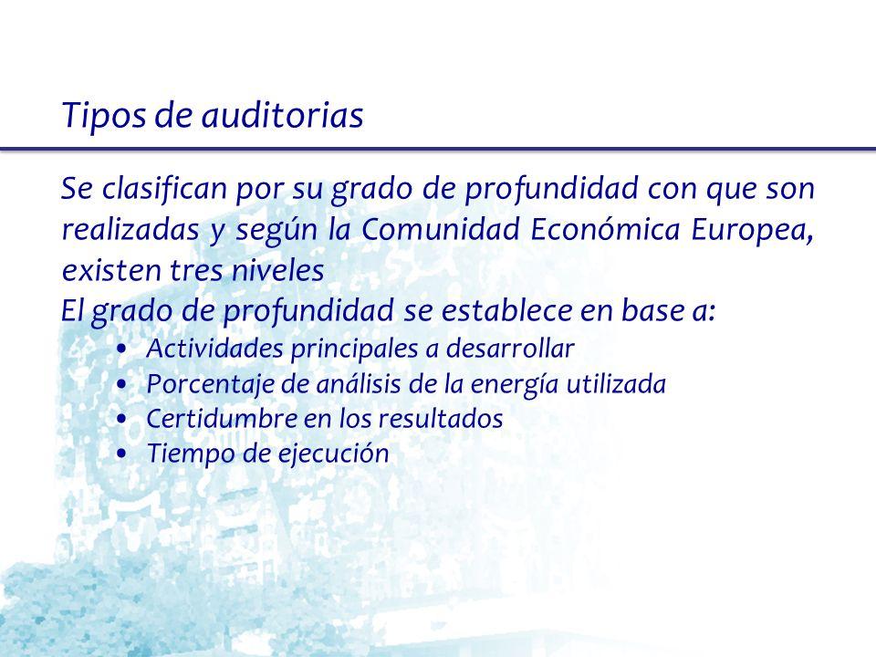 Tipos de auditorias Se clasifican por su grado de profundidad con que son realizadas y según la Comunidad Económica Europea, existen tres niveles.