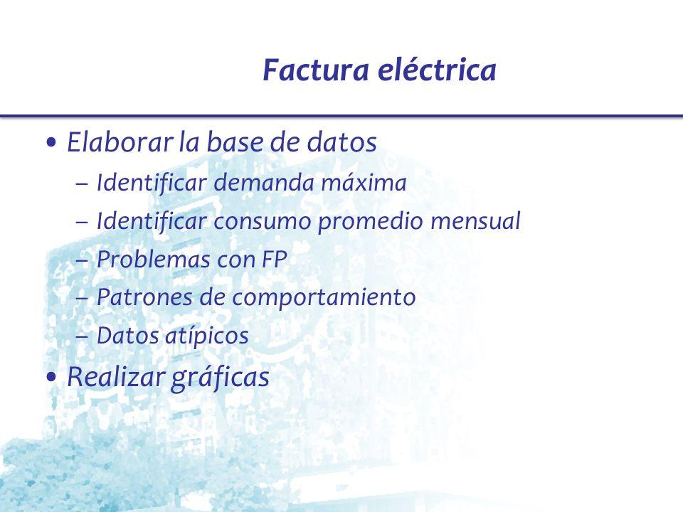 Factura eléctrica Elaborar la base de datos Realizar gráficas