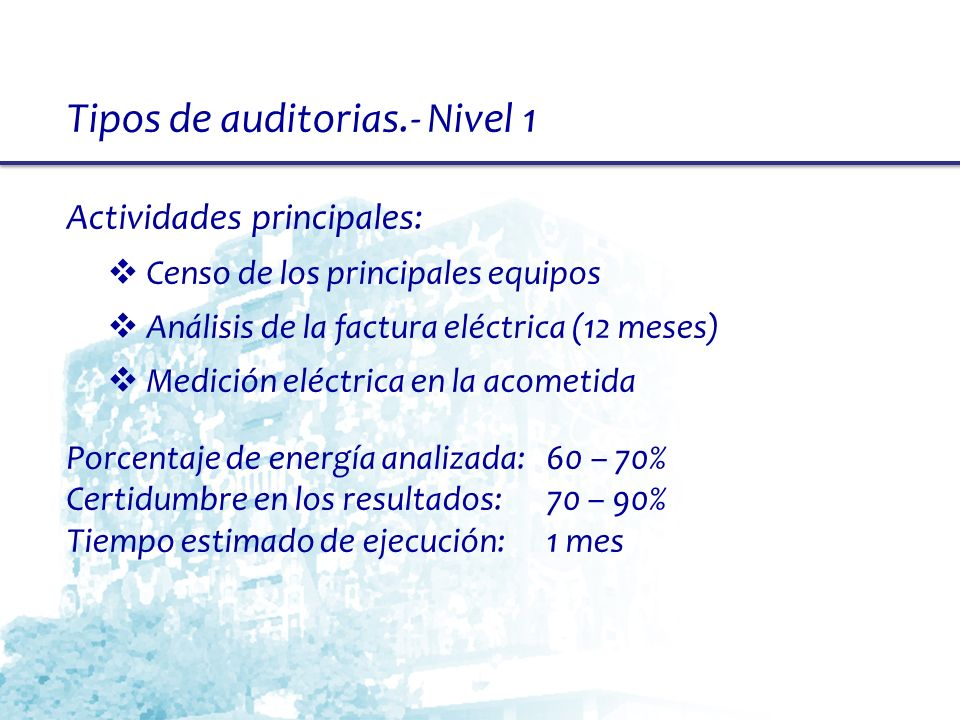 Tipos de auditorias.- Nivel 1