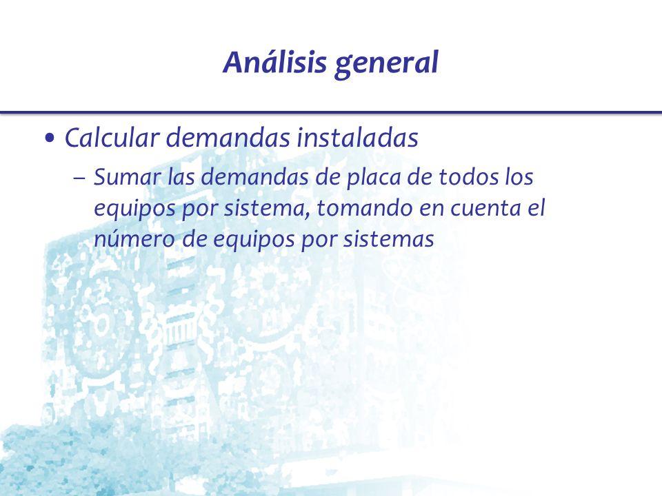 Análisis general Calcular demandas instaladas