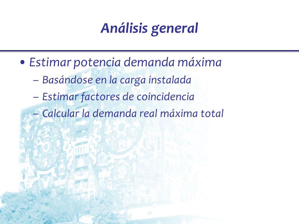 Análisis general Estimar potencia demanda máxima