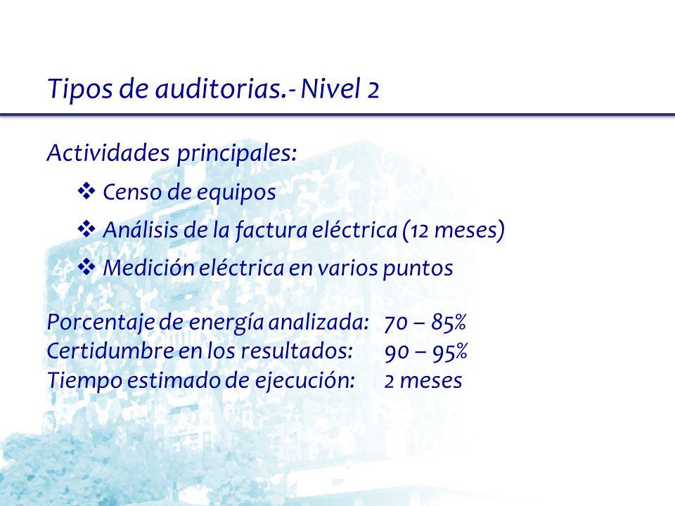 Tipos de auditorias.- Nivel 2