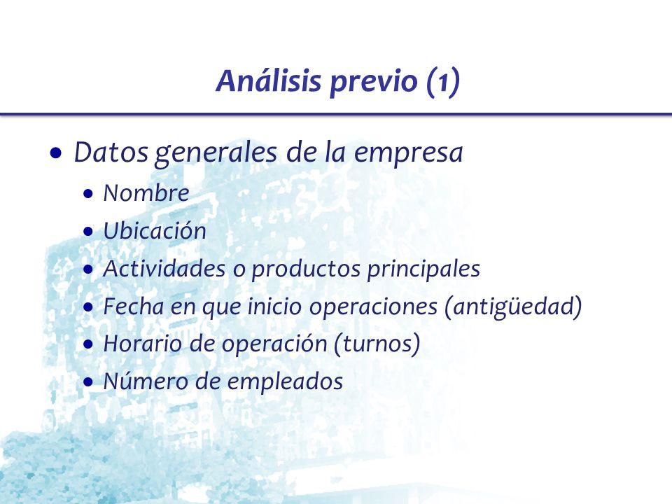 Análisis previo (1) Datos generales de la empresa Nombre Ubicación