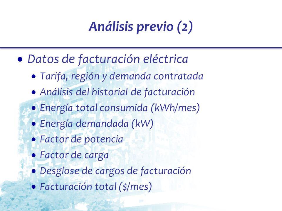 Análisis previo (2) Datos de facturación eléctrica
