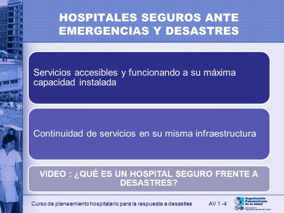 HOSPITALES SEGUROS ANTE EMERGENCIAS Y DESASTRES