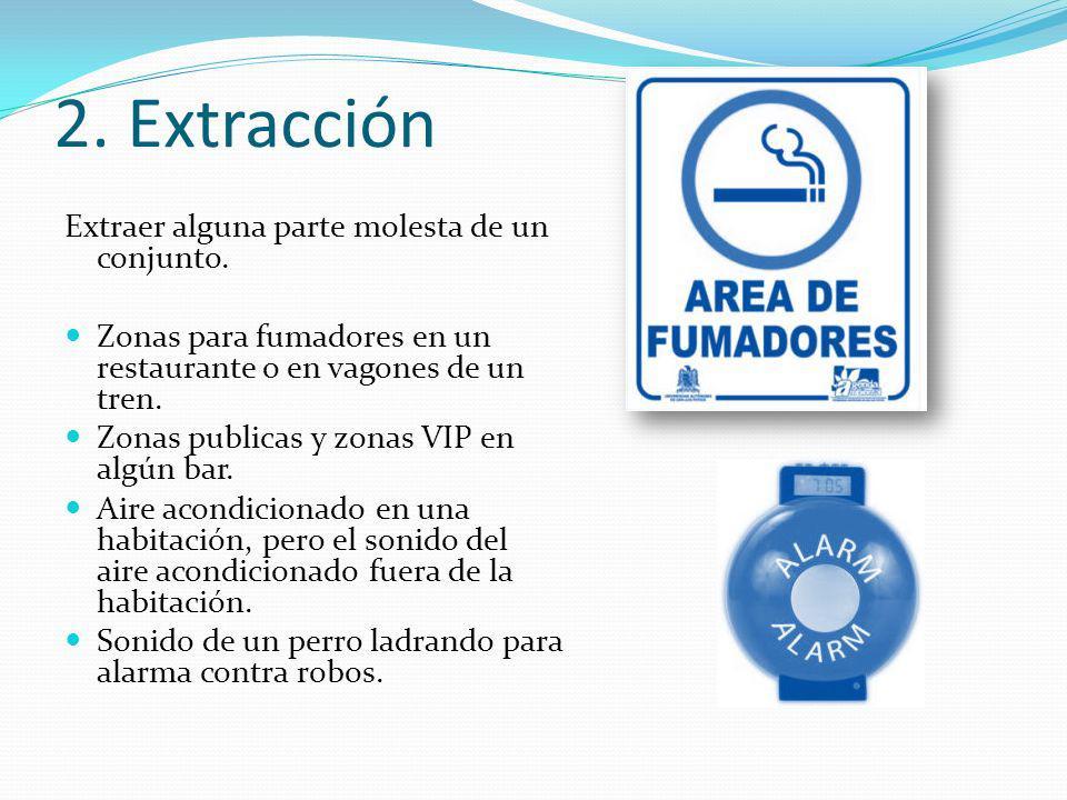 2. Extracción Extraer alguna parte molesta de un conjunto.