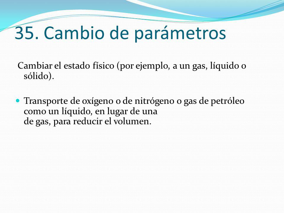 35. Cambio de parámetros Cambiar el estado físico (por ejemplo, a un gas, líquido o sólido).