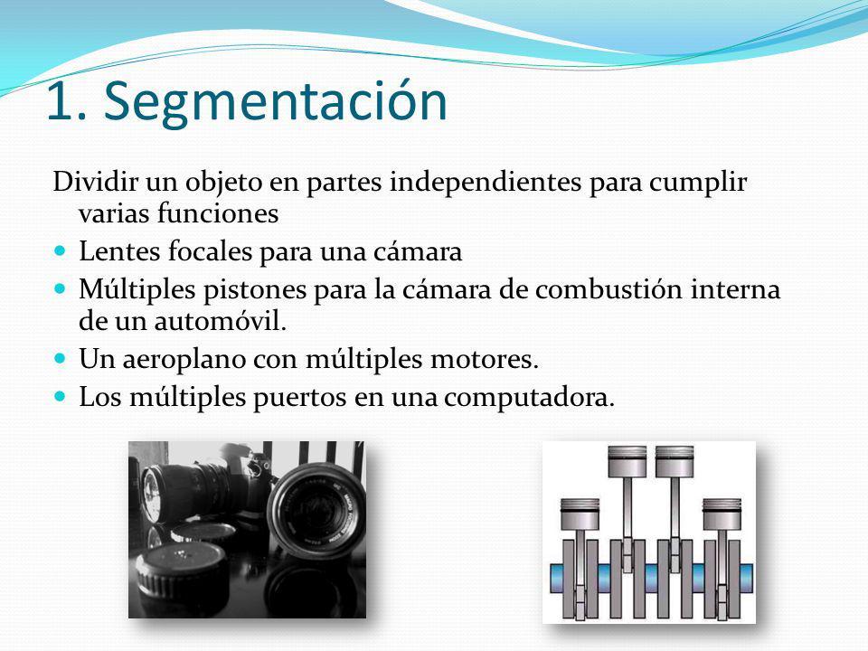 1. Segmentación Dividir un objeto en partes independientes para cumplir varias funciones. Lentes focales para una cámara.