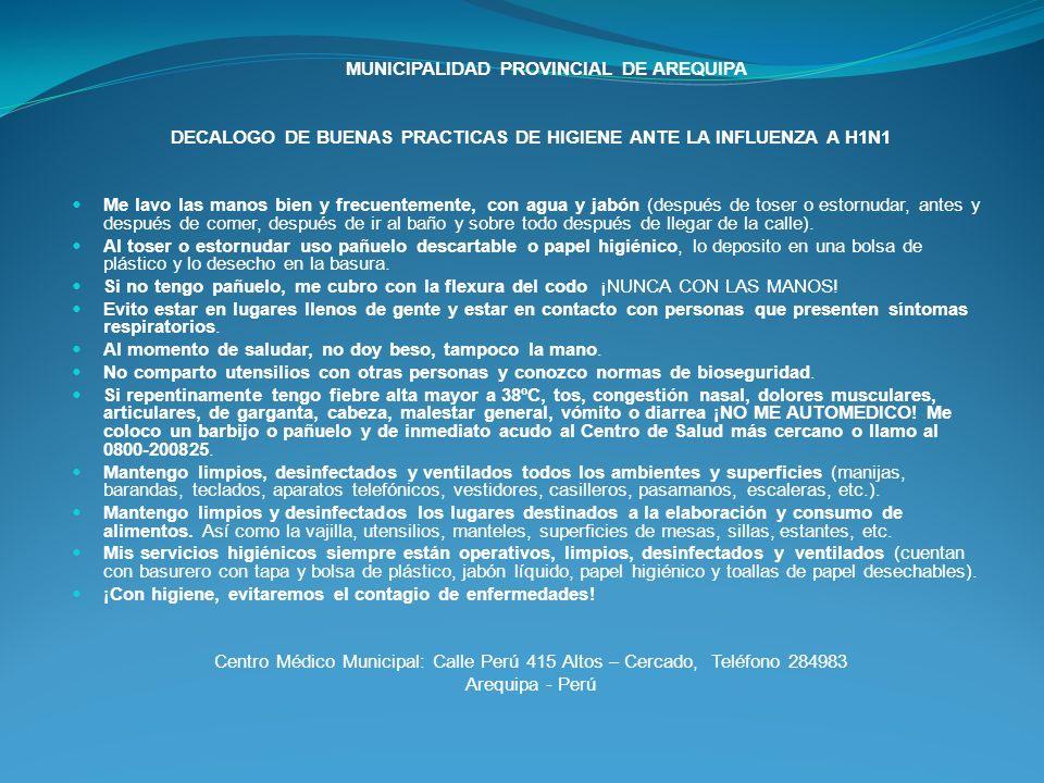 DECALOGO DE BUENAS PRACTICAS DE HIGIENE ANTE LA INFLUENZA A H1N1