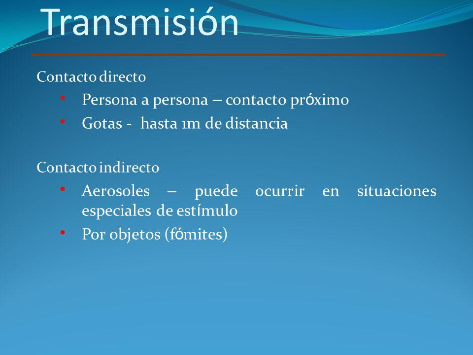 Transmisión Persona a persona – contacto próximo