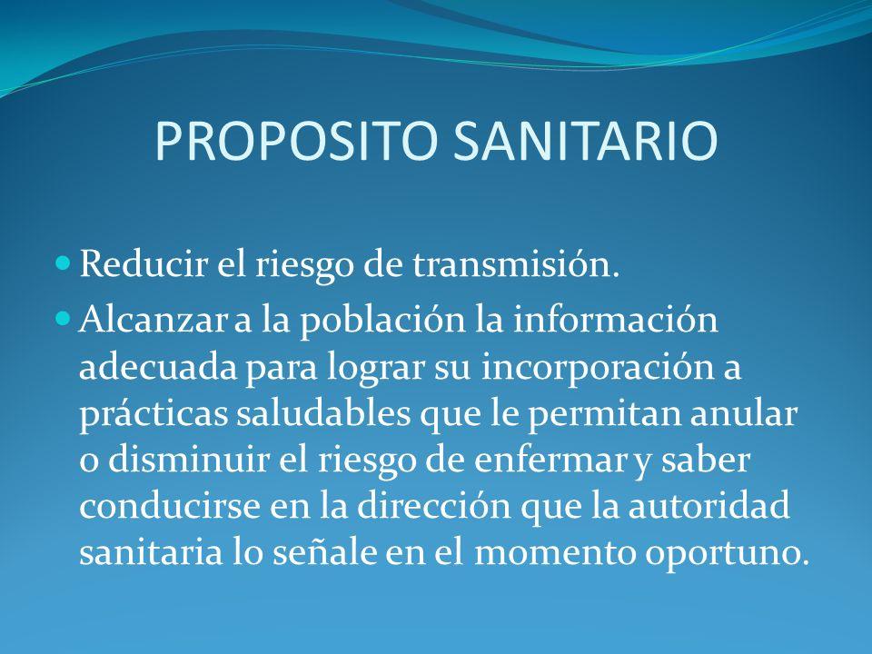 PROPOSITO SANITARIO Reducir el riesgo de transmisión.