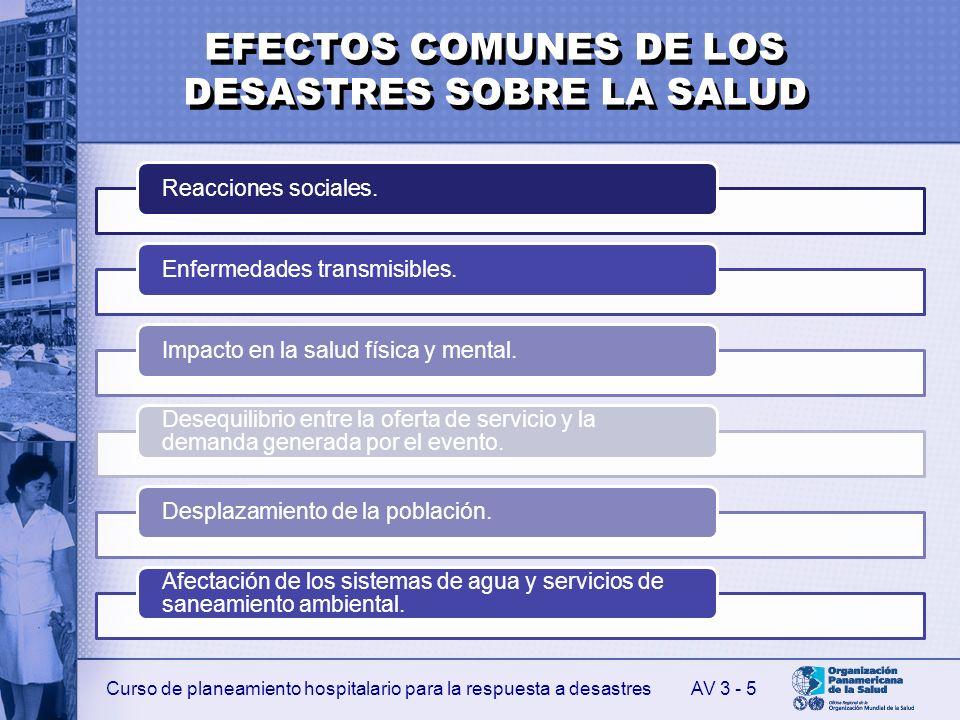 EFECTOS COMUNES DE LOS DESASTRES SOBRE LA SALUD
