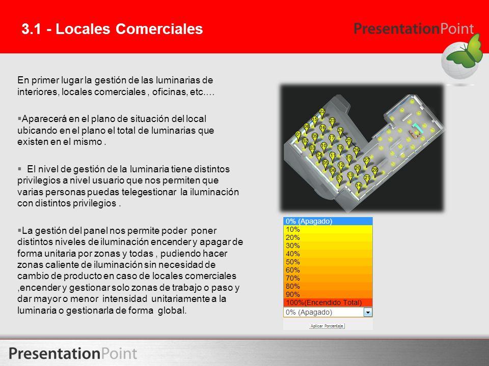 3.1 - Locales Comerciales En primer lugar la gestión de las luminarias de interiores, locales comerciales , oficinas, etc.…
