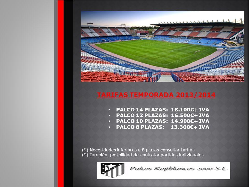 TARIFAS TEMPORADA 2013/2014 PALCO 14 PLAZAS: 18.100€+ IVA