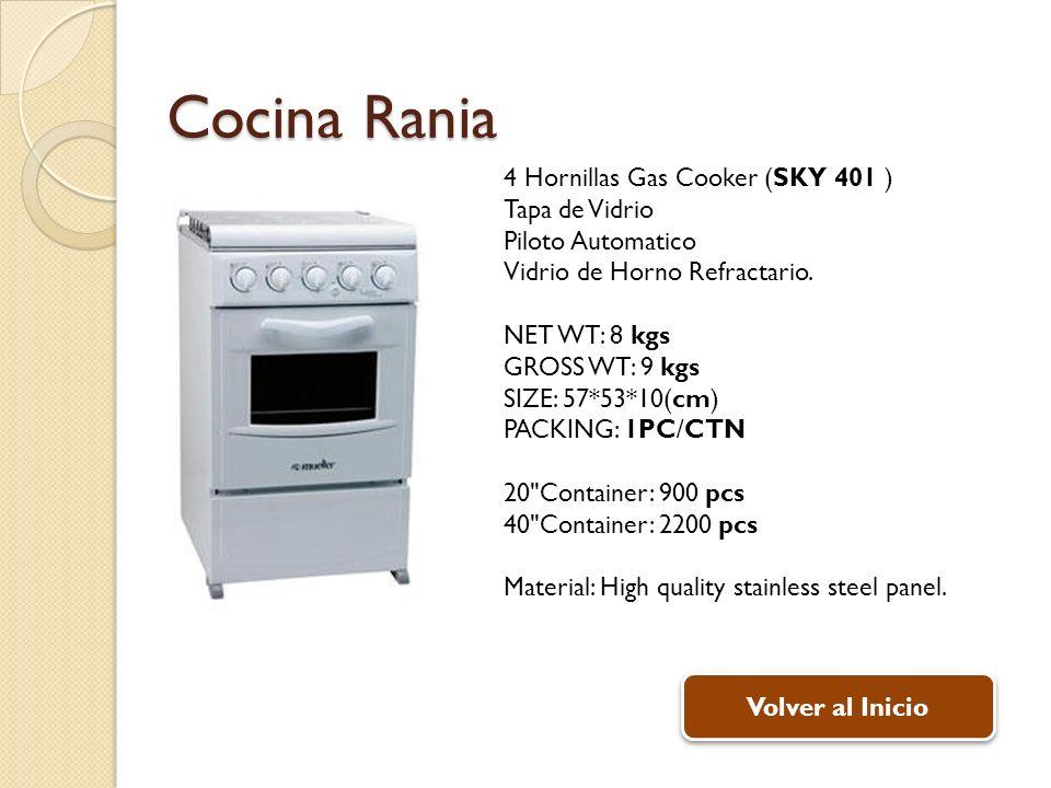 Cocina Rania 4 Hornillas Gas Cooker (SKY 401 ) Tapa de Vidrio