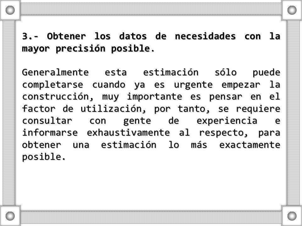 3.- Obtener los datos de necesidades con la mayor precisión posible.