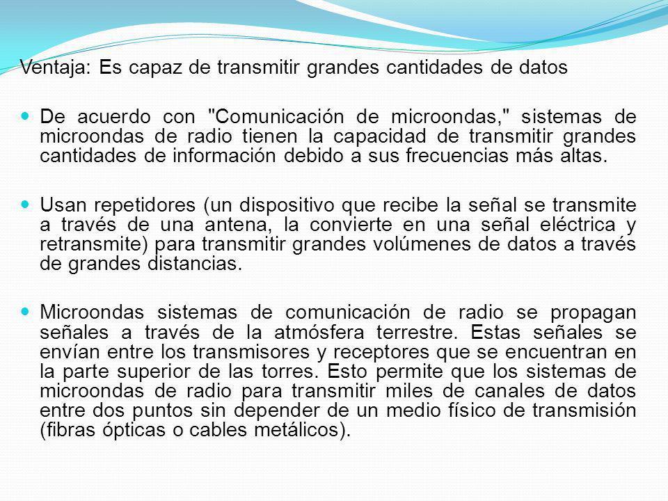 Ventaja: Es capaz de transmitir grandes cantidades de datos