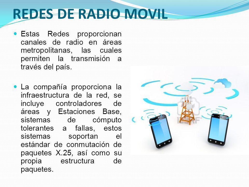 REDES DE RADIO MOVIL Estas Redes proporcionan canales de radio en áreas metropolitanas, las cuales permiten la transmisión a través del país.