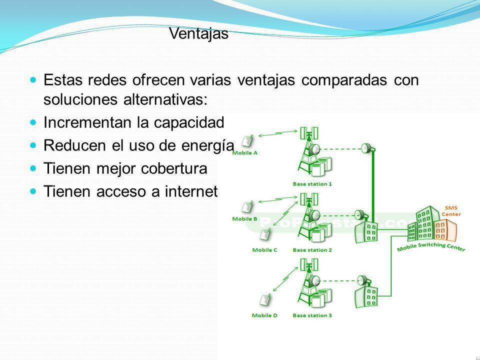 Ventajas Estas redes ofrecen varias ventajas comparadas con soluciones alternativas: Incrementan la capacidad.