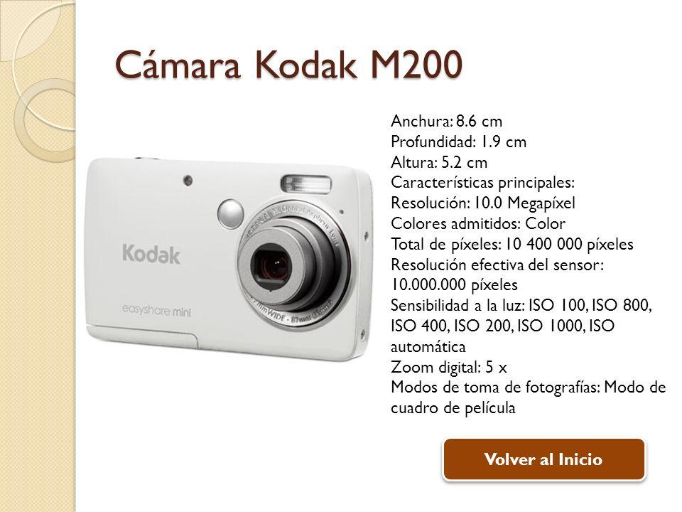 Cámara Kodak M200 Anchura: 8.6 cm Profundidad: 1.9 cm Altura: 5.2 cm