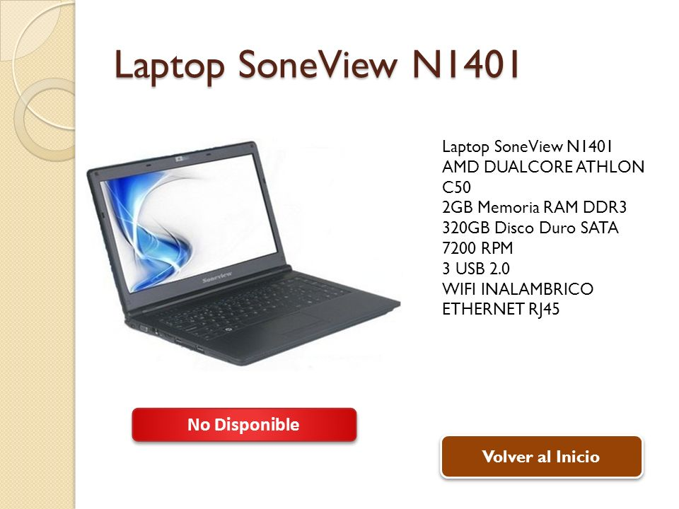 Laptop SoneView N1401 No Disponible Laptop SoneView N1401