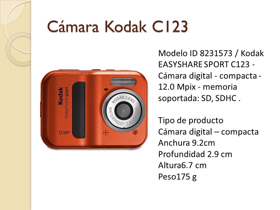 Cámara Kodak C123 Modelo ID 8231573 / Kodak EASYSHARE SPORT C123 - Cámara digital - compacta - 12.0 Mpix - memoria soportada: SD, SDHC .