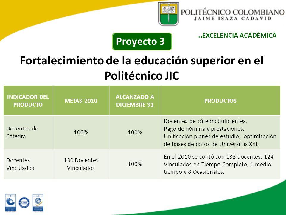 Fortalecimiento de la educación superior en el Politécnico JIC