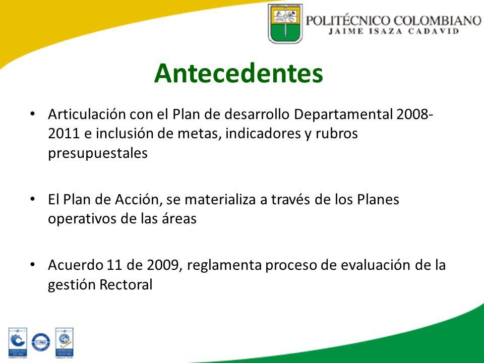 Antecedentes Articulación con el Plan de desarrollo Departamental 2008- 2011 e inclusión de metas, indicadores y rubros presupuestales.