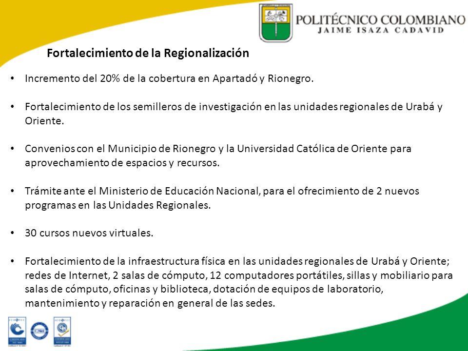 Fortalecimiento de la Regionalización
