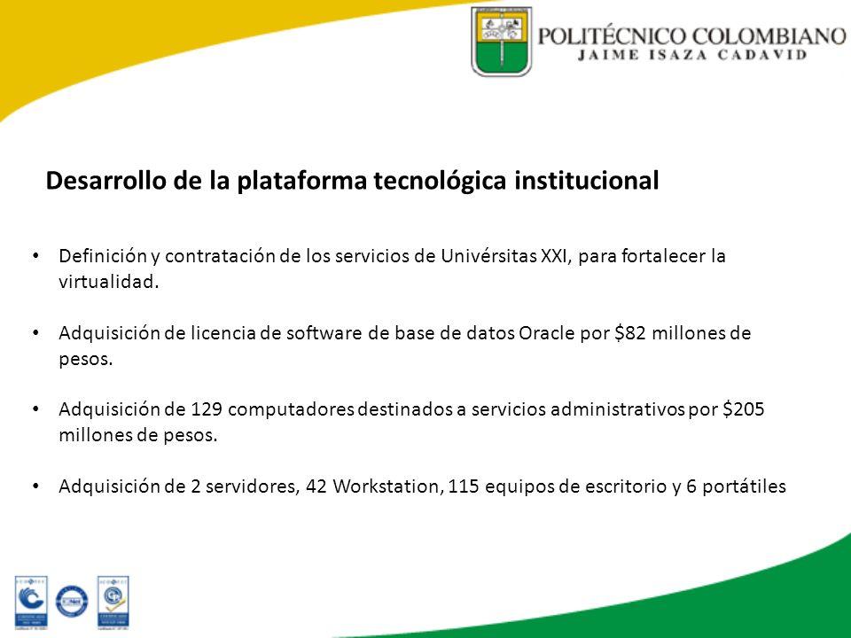 Desarrollo de la plataforma tecnológica institucional