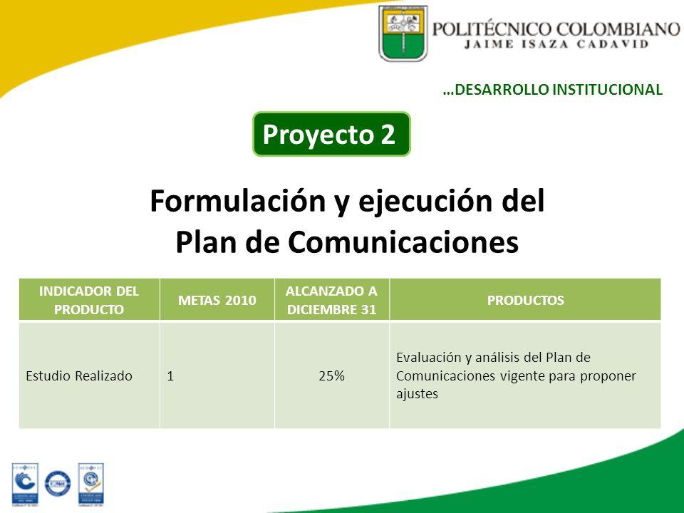 Formulación y ejecución del Plan de Comunicaciones