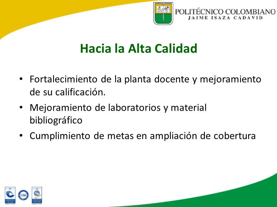 Hacia la Alta CalidadFortalecimiento de la planta docente y mejoramiento de su calificación. Mejoramiento de laboratorios y material bibliográfico.