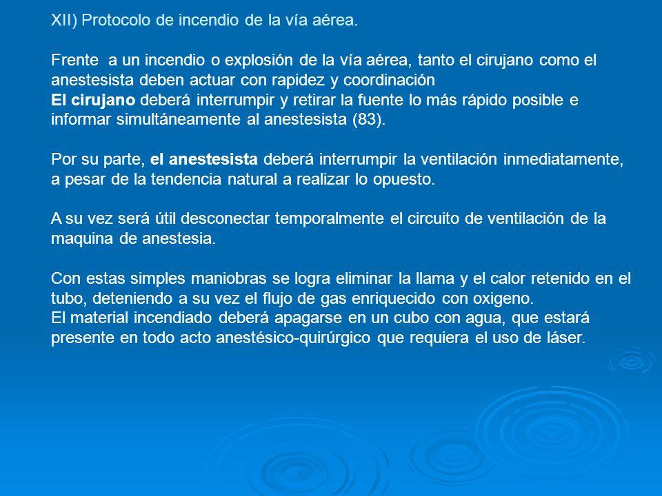 XII) Protocolo de incendio de la vía aérea.