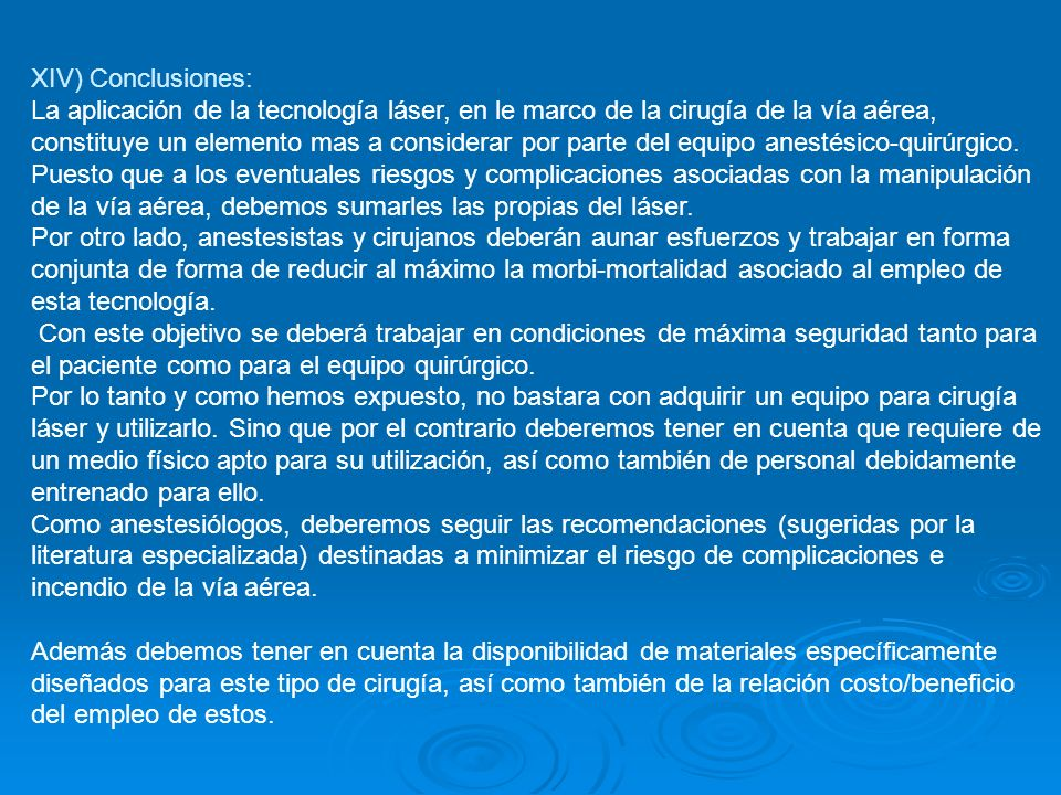 XIV) Conclusiones: