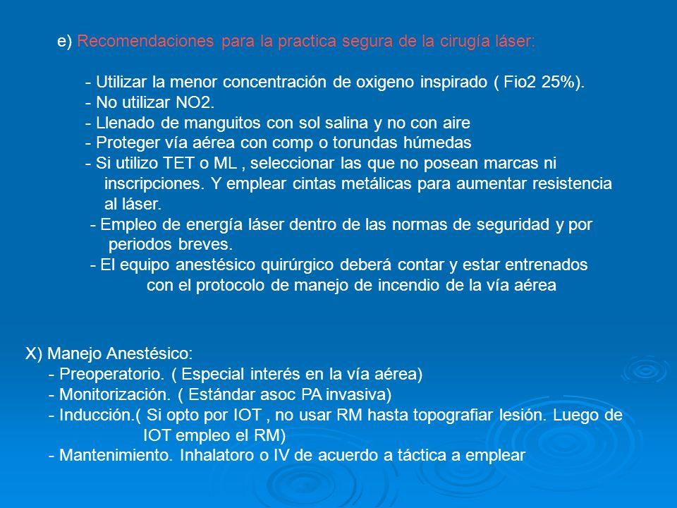 e) Recomendaciones para la practica segura de la cirugía láser: