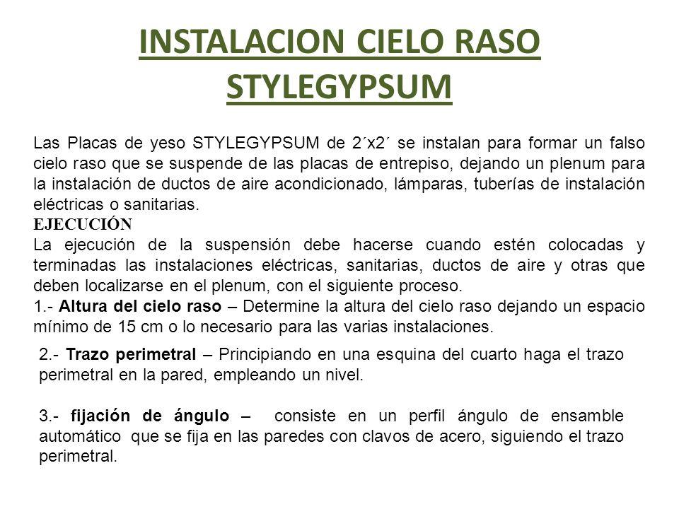 INSTALACION CIELO RASO STYLEGYPSUM