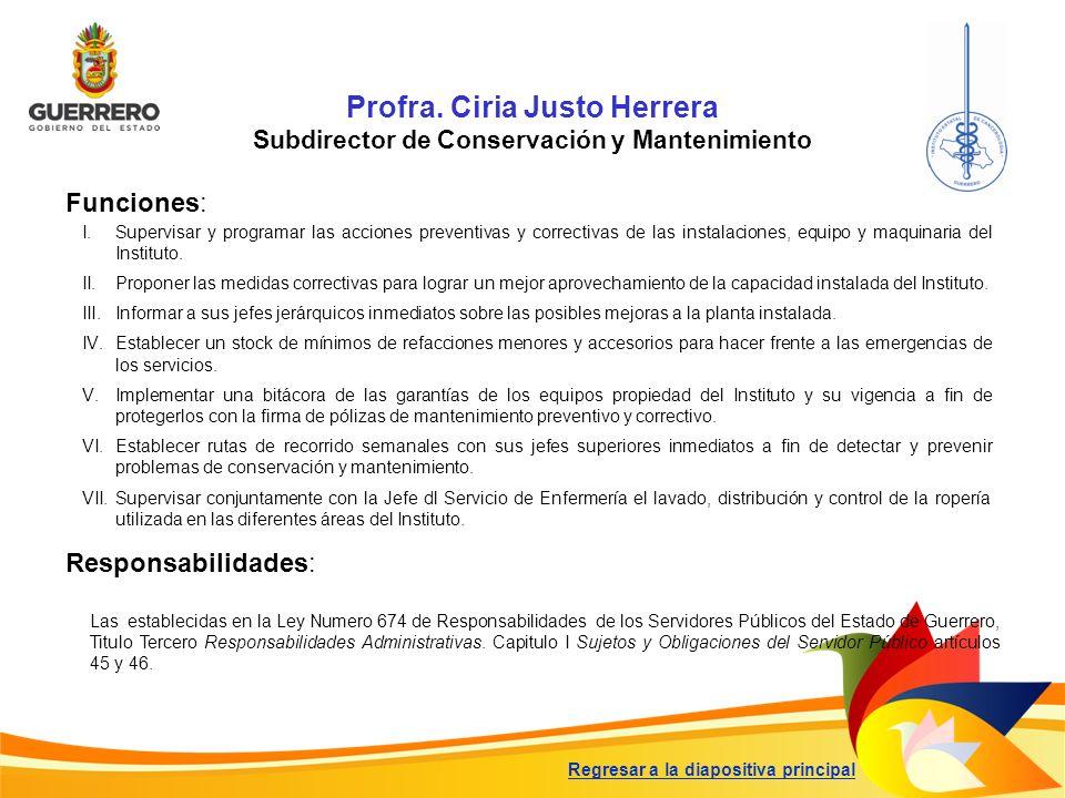 Profra. Ciria Justo Herrera