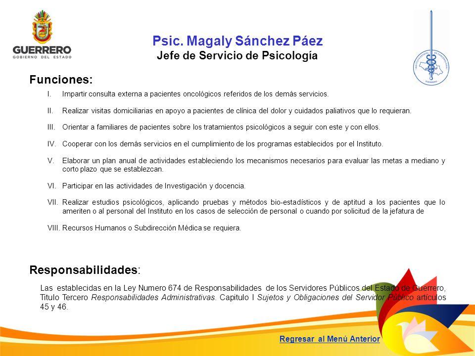 Psic. Magaly Sánchez Páez Jefe de Servicio de Psicología