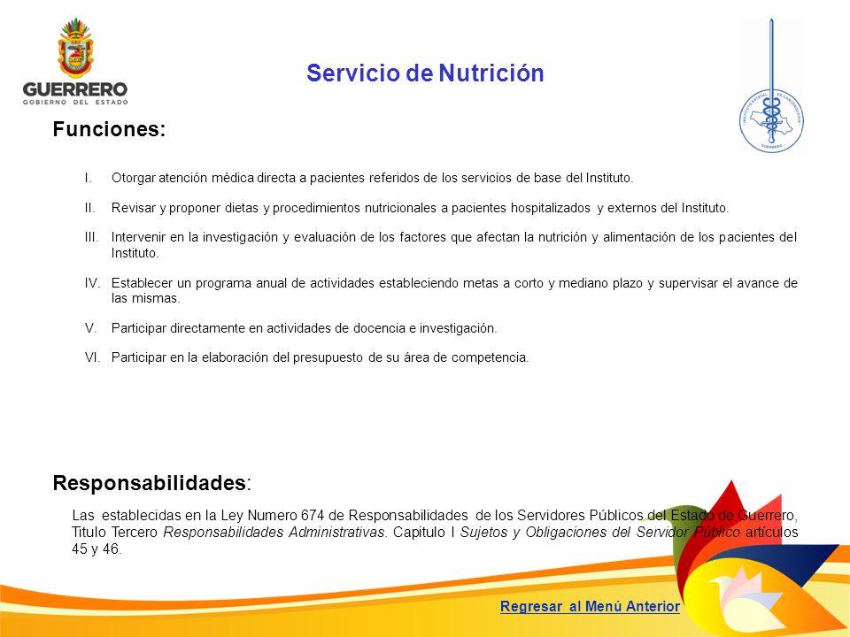 Servicio de Nutrición Funciones: Responsabilidades: