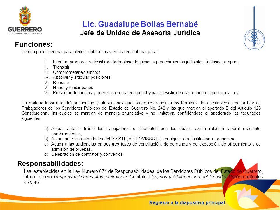 Lic. Guadalupe Bollas Bernabé Jefe de Unidad de Asesoría Jurídica