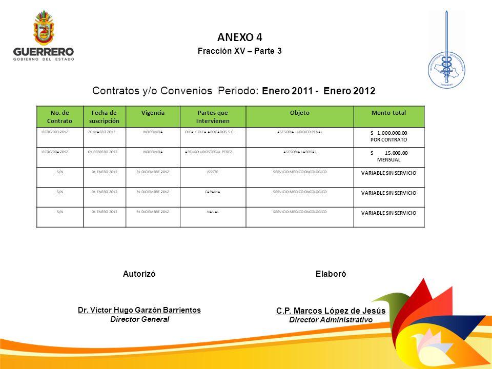 ANEXO 4 Contratos y/o Convenios Periodo: Enero 2011 - Enero 2012
