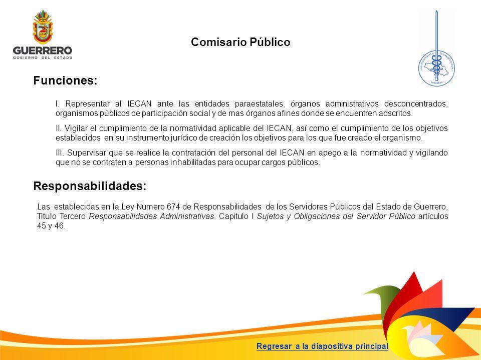 Funciones: Responsabilidades: Comisario Público