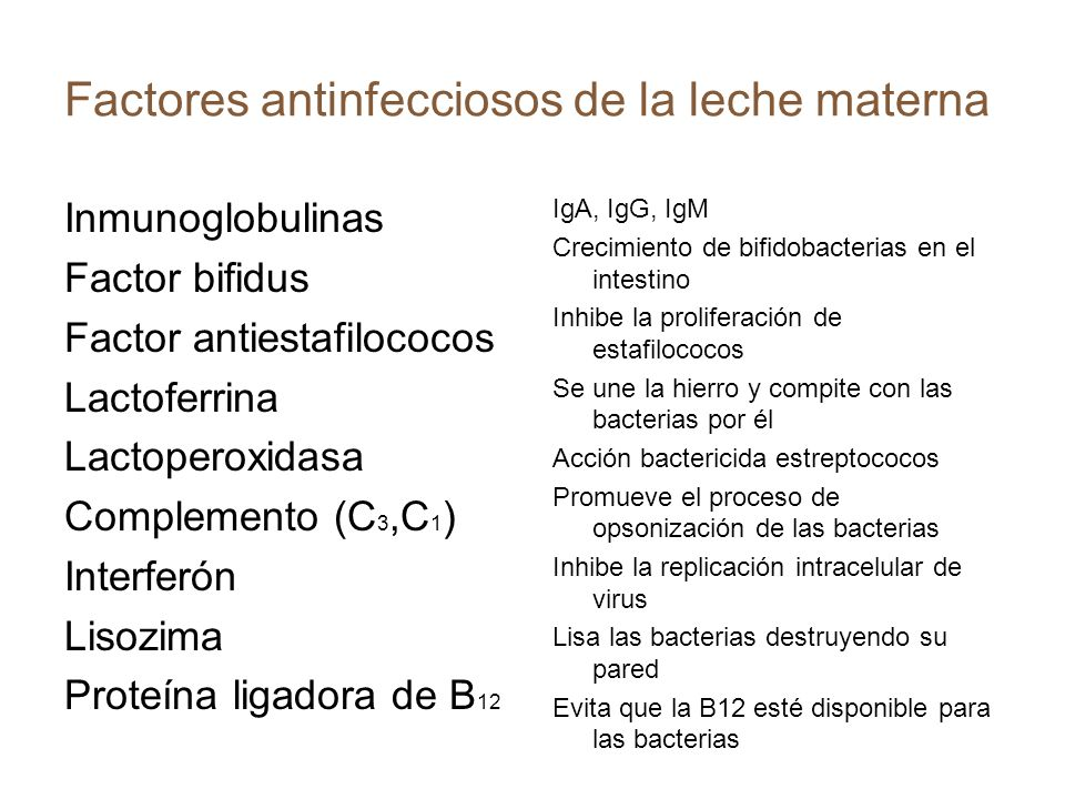 Factores antinfecciosos de la leche materna