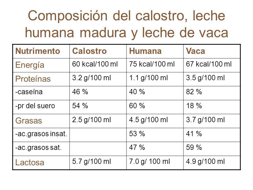 Composición del calostro, leche humana madura y leche de vaca