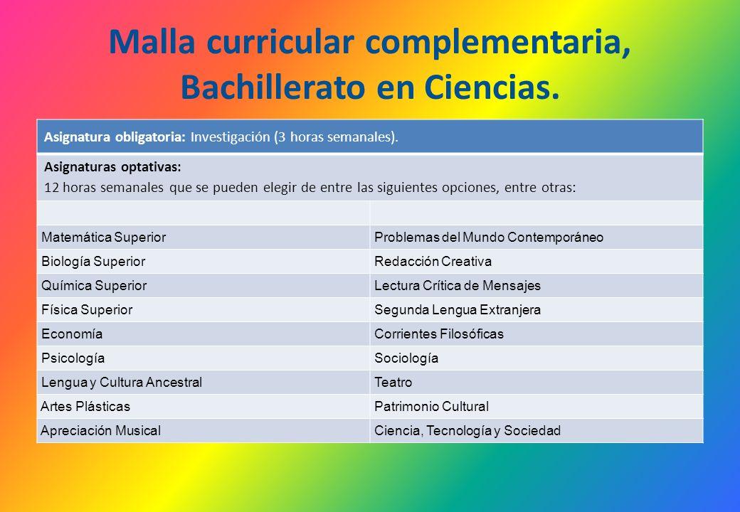 Malla curricular complementaria, Bachillerato en Ciencias.