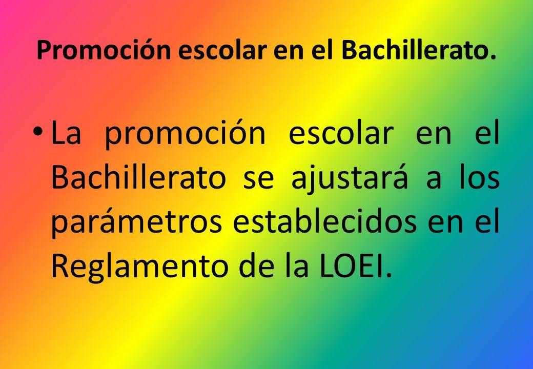 Promoción escolar en el Bachillerato.
