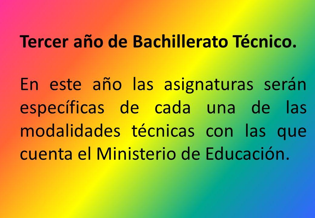 Tercer año de Bachillerato Técnico.