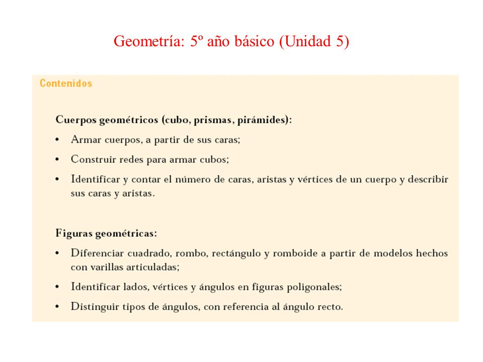 Geometría: 5º año básico (Unidad 5)