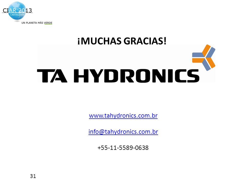 ¡MUCHAS GRACIAS! www.tahydronics.com.br info@tahydronics.com.br