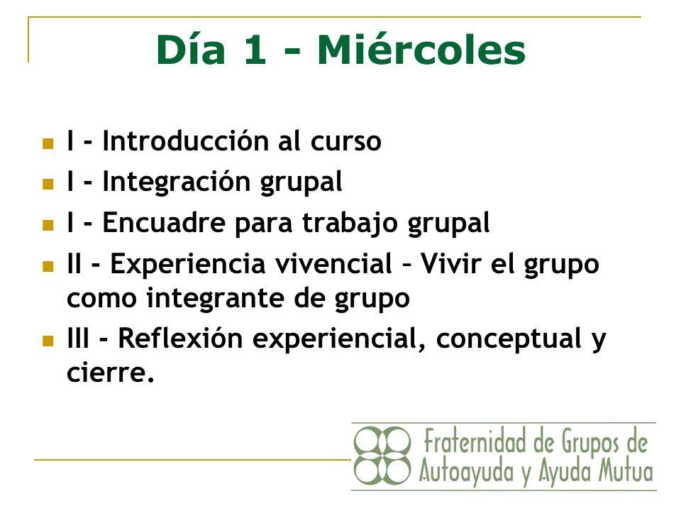 Día 1 - Miércoles I - Introducción al curso I - Integración grupal